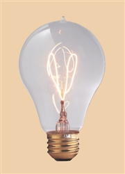 40A23/E26/1893 120V 40 WATT 1893 CARBON FILAMENT A23 BULB E26 BASE, CARBON FILAMENT BULBS, CARBON FILAMENT LAMPS, 1893 STYLE LIGHT BULBS, ANTIQUE STYLE LIGHT BULBS, CARBON FILAMENT VICTORIAN BULBS