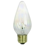 40 WATT CLEAR F15 FLAME BULB 130 VOLT E26 BASE, 40F15/3/130V, F15 CLEAR, F-15 CLEAR FLAME BULB E26 BASE