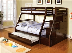 Furniture of America(FOA) item# CM-BK611EX Ellington Dark Walnut Twin Over Full Bunk Bed
