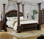 TFA-36193 Furniture of America(FOA) item# CM7271Q-BED Mandalay Brown Cherry Queen Poster Canopy Bed