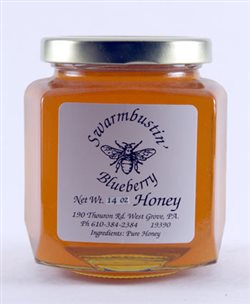 Blueberry Flavored Honey - 14 oz. Hex Jar