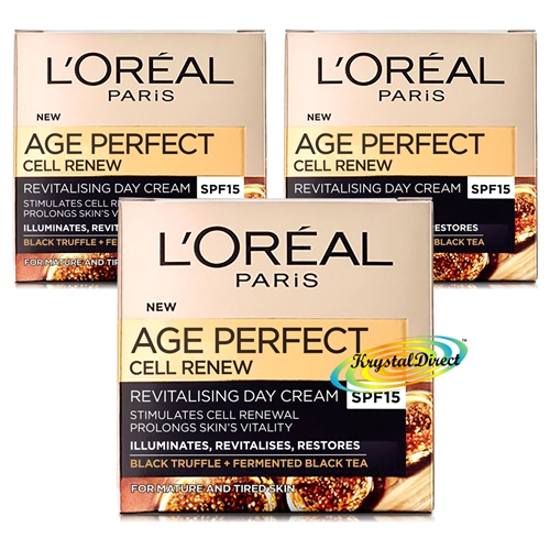 3x Loreal Age Perfect Cell Renew Revitalising SPF15 Day Face Cream 50ml