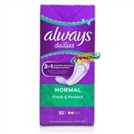 Always Dailies 32 Normal Pantyliners Pads With Fresh Scent Acti Pearls