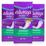 3x Always Dailies 32 Normal Pantyliners Pads With Fresh Scent Acti Pearls