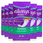 6x Always Dailies 32 Normal Pantyliners Pads With Fresh Scent Acti Pearls