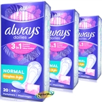 3x Always Dailies 20 Single PANTYLINERS NORMAL Folded/Wrapped