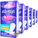 6x Always Dailies 20 Single PANTYLINERS NORMAL Folded/Wrapped