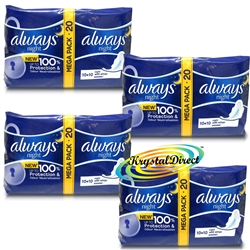 4x 20 Always Ultra Night With Wings Sanitary Towels Pads