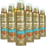 6x Garnier Ambre Solaire Natural Bronzer Quick Drying Dark Self Tan Body Mist 150ml