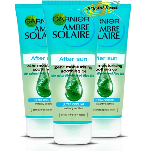 3x garnier ambre solaire after sun moisturising soothing aloe vera gel 200ml. Black Bedroom Furniture Sets. Home Design Ideas