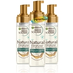 3x Garnier Ambre Solaire Natural Bronzer Intense Clear Self Tan Mousse 200ml