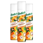 3x Batiste TROPICAL Dry Shampoo 200ml Instant Hair Refresh