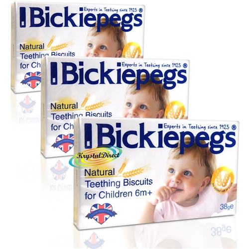 3x Bickiepegs Teething Biscuits 38gm