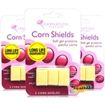 3x Carnation 3 Corn Shields Soft Gel Cushions Foot Corn Pressure Pain Relief