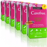 6x Carefree Aloe 20 Pantyliners Lightly Scented