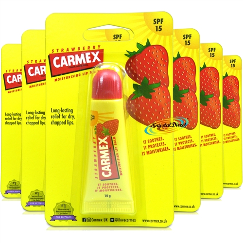 6x Carmex Strawberry Moisturising Lip Balm 10 g SPF 15 Relief From Dry Chapped Lips