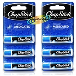 6x Chap Stick Lip Health Balm Medicated Instant Repair For Dry Chapped Lips