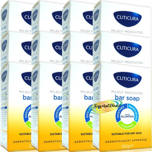 12x Cuticura Mildly Medicated Gentle Cleansing Soap Skin Soothing Allantoin 100g