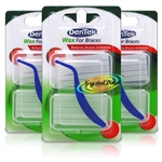 3x DenTek Fresh Mint Wax For Braces Relieves Bracket & Wire Irritation Twin Pack