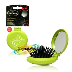 Denman D7 Compact Popper Hairbrush Handbag Size with Vanity Mirror