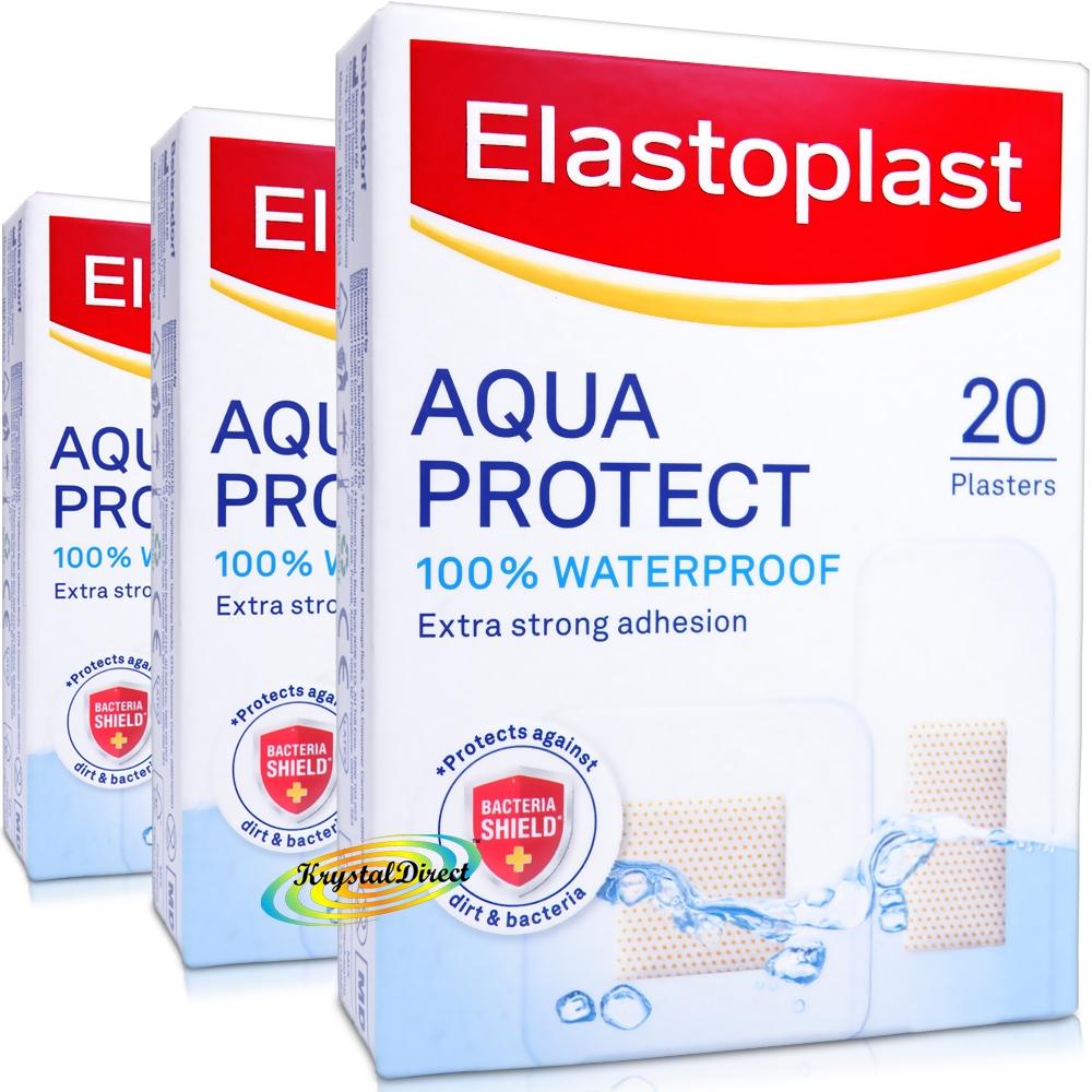 3x Elastoplast Aqua Protect Plasters 20 Strips