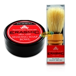 Erasmic Lather Shaving Soap Bowl 90g & Natural Pure Bristle Shave Brush
