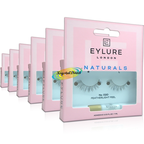 6x Eylure Naturals No. 020 False Strip Eyelashes Natural Look Weightless Feel