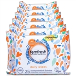 6x Femfresh feminine Cleansing Intimate hygiene Wipes 25