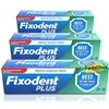 3x Fixodent Plus Dual Protection Antibacterial Denture Adhesive Cream 40g