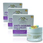 3x Derma V10 Anti Ageing Skin Care Daily Day Facial Face Cream With SPF15 50ml