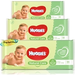 3x Huggies Natural Care Gentle Baby Wipes Aloe Vera No Alcohol 168 Wipes Total