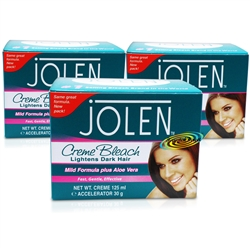 3x Jolen Mild Aloe Vera Facial Cream Creme Bleach Lighten Excess Dark Hair 125ml