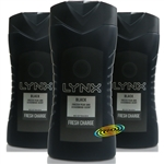 3x Lynx Black Refreshing Shower Men Body Bath Wash Gel 250ml