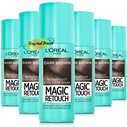 6x Loreal Magic Retouch Dark Brown Instant Root Concealer Spray 75ml Temporary Grey Coverage