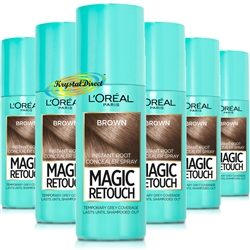 6x Loreal Magic Retouch Brown Instant Root Concealer Spray 75ml Temporary Grey Coverage