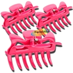 3x Manicare Hair Accessory Hairdressing Plastic Claw Clamp Clips  PINK
