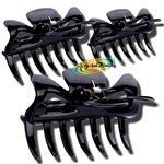 3x Manicare Hair Accessory Hairdressing Plastic Claw Clamp Clips BLACK