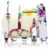 Manicare Manicure Pedicure Set Red Rose Design In Flip Open Case