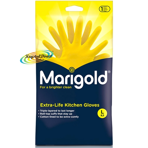 Marigold G43Y Extra Life Cotton Lined Stronger Large Size Kitchen Gloves