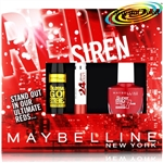 Maybelline RED SIREN Mascara Lipstick Nail Polish Xmas Gift Set For Her/Women
