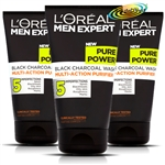 3x Loreal Men Expert Pure Power Black Charcoal Wash 150ml