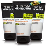3x Loreal Men Expert Pure Power Scrub Anti Blackhead 150ml