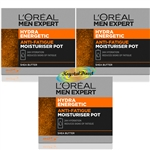 3x Loreal Men Expert Hydra Energetic Daily Moisturiser Pot 50ml