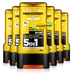 6x L'Oreal Men Expert Invincible Sport Camphor Shower Gel 300ml Face Body & Hair