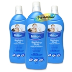 3x Milton Sterilising Fluid For Baby & Home 1L
