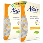 2x Nair 12 Body WAX STRIPS Hair Remover For Legs & Body with Camomile Extract
