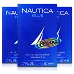 3x Nautica Blue Eau De Toilette Spray EDT Gift For Him 50ml