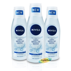 3x Nivea 3 in 1 Daily Micellar Cleansing Face Water 200ml Normal Skin Vitamin E