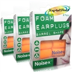 3x Noise-X Foam Barrel Shape Multipurpose Noise Ear Plugs Flight Earplugs