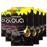 6x Garnier Olia 1.0 Deep Black Permanent Hair Colour No Ammonia Dye
